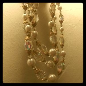 1940's triple strand catalin & crystal necklace